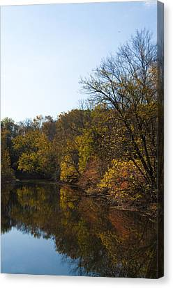 Perkiomen Creek In Autumn Canvas Print by Bill Cannon