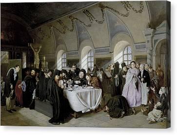 Perov, Vasily 1833-1882. The Refectory Canvas Print by Everett