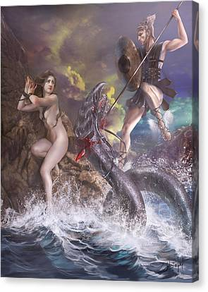 Perseus And Andromeda Canvas Print by Drazenka Kimpel
