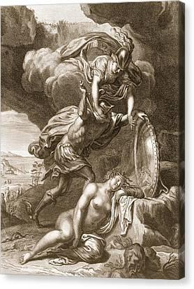Perseus Cuts Off Medusas Head, 1731 Canvas Print by Bernard Picart
