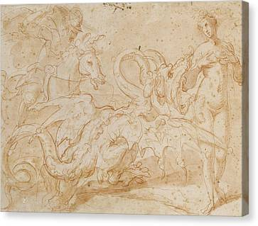 Perseus Rescuing Andromeda Red Chalk On Paper Canvas Print by or Zuccaro, Federico Zuccari