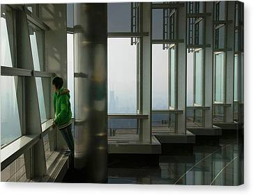 Person Viewing A City From Observation Canvas Print by Panoramic Images