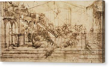 Perspective Study For The Background Of The Adoration Of The Magi Canvas Print by Leonardo da Vinci
