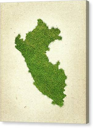Peru Grass Map Canvas Print by Aged Pixel