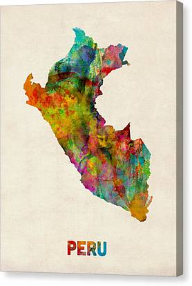 Peru Watercolor Map Canvas Print by Michael Tompsett