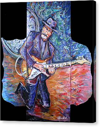 Peter Parcek Plays The Blues Canvas Print by Jason Gluskin