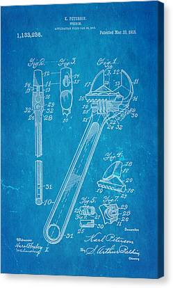 Peterson Wrench Patent Art 1915 Blueprint Canvas Print by Ian Monk