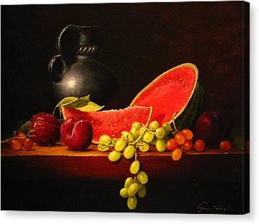 Petite Watermelon Canvas Print by Sean Taber