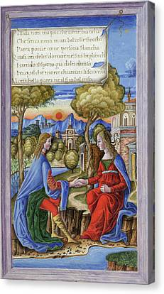 Petrarch And Laura Canvas Print by British Library