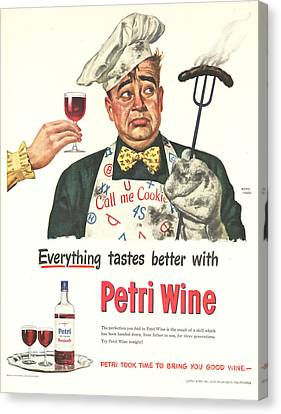 Petri Wine 1940s Usa Cooking  Bbq Canvas Print by The Advertising Archives