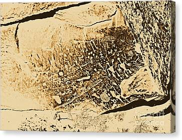 Petroglyphs On Newspaper Rock Petrified Forest National Park Rustic Canvas Print by Shawn O'Brien