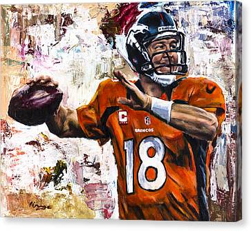 Peyton Manning Canvas Print by Mark Courage