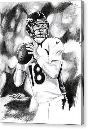 Peyton Manning Canvas Print by Michael Mestas