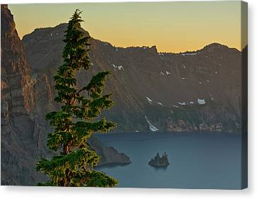 Phantom Ship And Crater Lake At Sunset Canvas Print by Michel Hersen
