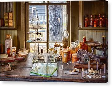 Pharmacist Desk Canvas Print by Inge Johnsson