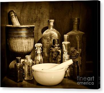 Pharmacy - Tools Of The Pharmacist - Black And White Canvas Print by Paul Ward