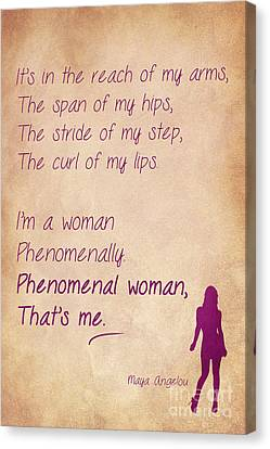 Phenomenal Woman Quotes 1 Canvas Print by Nishanth Gopinathan