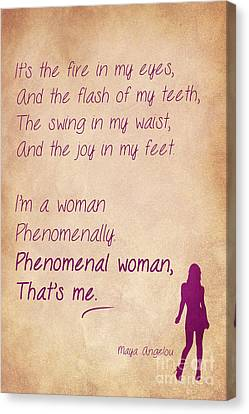 Phenomenal Woman Quotes 2 Canvas Print by Nishanth Gopinathan