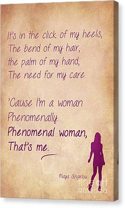 Phenomenal Woman Quotes 4 Canvas Print by Nishanth Gopinathan