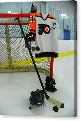 Philadelphia Flyers Eric Lindros Away Hockey Jersey Canvas Print by Lisa Wooten