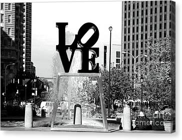 Philadelphia Love Bw Canvas Print by John Rizzuto