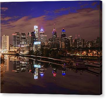 Philadelphia - Reflections On The Schuylkill River Canvas Print by Bill Cannon