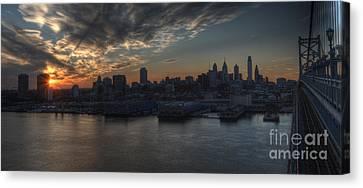 Philadelphia Skyline And The Ben Franklin Bridge Sunset Canvas Print by Mark Ayzenberg