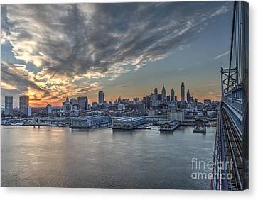 Philadelphia Skyline From The Ben Franklin Bridge Canvas Print by Mark Ayzenberg