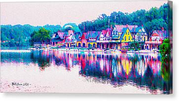 Philadelphia's Boathouse Row On The Schuylkill River Canvas Print by Bill Cannon