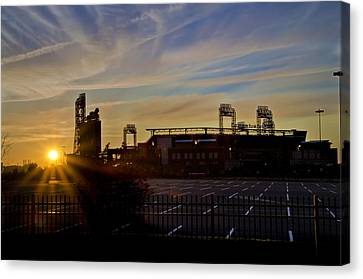 Phillies Citizens Bank Park At Dawn Canvas Print by Bill Cannon