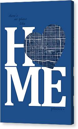 Phoenix Street Map Home Heart - Phoenix Arizona Road Map In A He Canvas Print by Jurq Studio