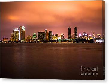 Photo Of San Diego At Night Canvas Print by Paul Velgos