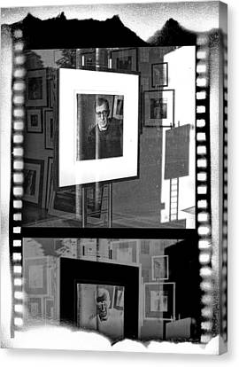 Photographic Artwork Of Woody Allen In A Window Display Canvas Print by Randall Nyhof