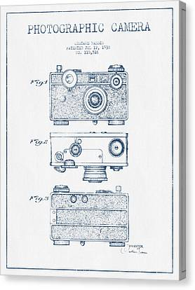 Photographic Camera Patent Drawing From 1938- Blue Ink Canvas Print by Aged Pixel