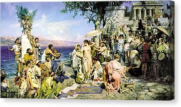 Phryne At The Festival Of Poseidon In Eleusin Canvas Print by Henryk Siemiradzki