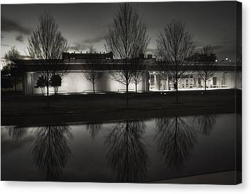 Piano Pavilion Bw Reflections Canvas Print by Joan Carroll