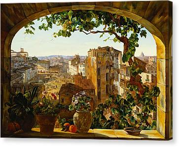 Piazza Barberini In Rome Canvas Print by Karl von Bergen
