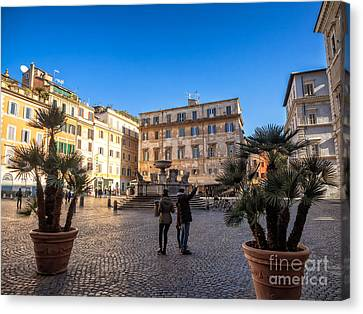 Piazza Santa Maria In Trastevere  Canvas Print by Frank Bach