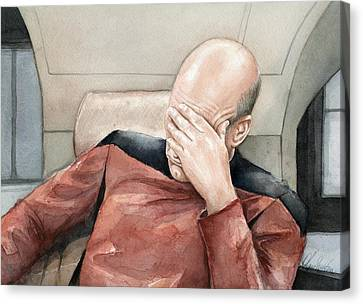 Picard Facepalm Meme Watercolor Canvas Print by Olga Shvartsur