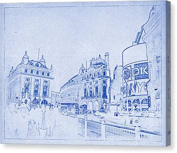 Piccadilly Circus Blueprint Canvas Print by Kaleidoscopik Photography