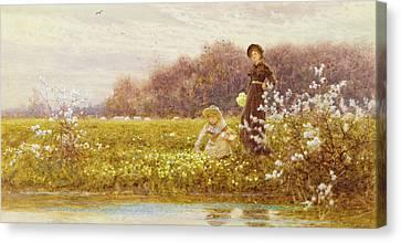Picking Primroses Canvas Print by Thomas James Lloyd