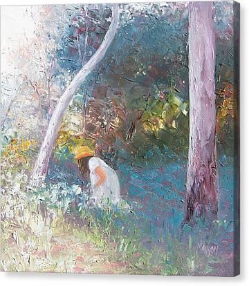 Picking Wildflowers Landscape Canvas Print by Jan Matson