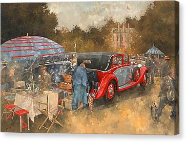 Picnic At Althorp Oil On Canvas Canvas Print by Peter Miller