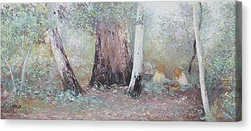 Picnic In The Forest Canvas Print by Jan Matson