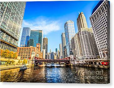 Picture Of Chicago At Lasalle Street Bridge Canvas Print by Paul Velgos