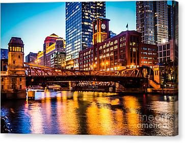 Picture Of Chicago At Night With Clark Street Bridge Canvas Print by Paul Velgos
