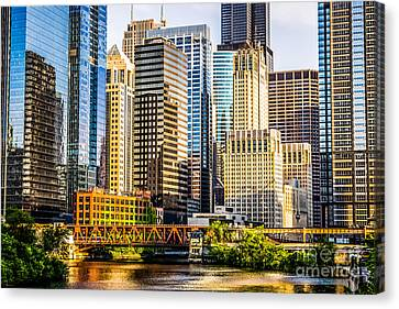 Picture Of Chicago Buildings At Lake Street Bridge Canvas Print by Paul Velgos