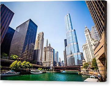 Picture Of Chicago Skyline At Michigan Avenue Bridge Canvas Print by Paul Velgos