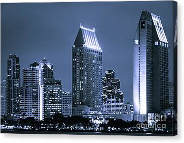 Picture Of San Diego Night Skyline Canvas Print by Paul Velgos