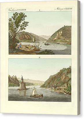 Picturesque Views Of The Rhine Canvas Print by Splendid Art Prints
